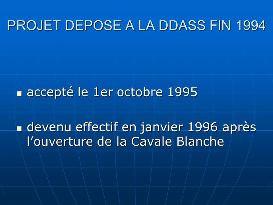 PROJET DEPOSE A LA DDASS FIN 1994 accepté le 1er octobre 1995 accepté le 1er octobre 1995 devenu effectif en janvier 1996 après louverture de la Cavale Blanche devenu effectif en janvier 1996 après louverture de la Cavale Blanche