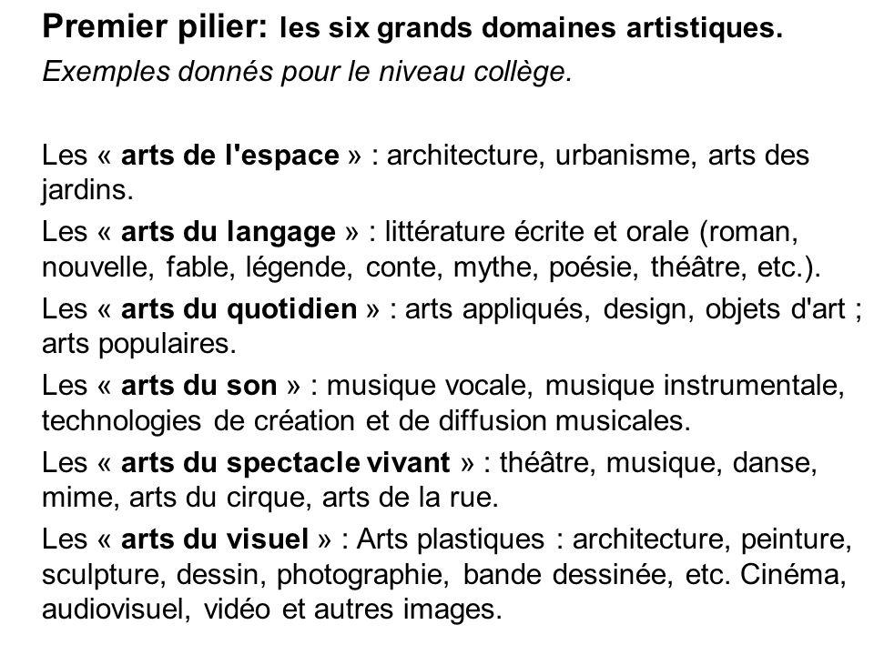 Premier pilier: les six grands domaines artistiques. Exemples donnés pour le niveau collège. Les « arts de l'espace » : architecture, urbanisme, arts