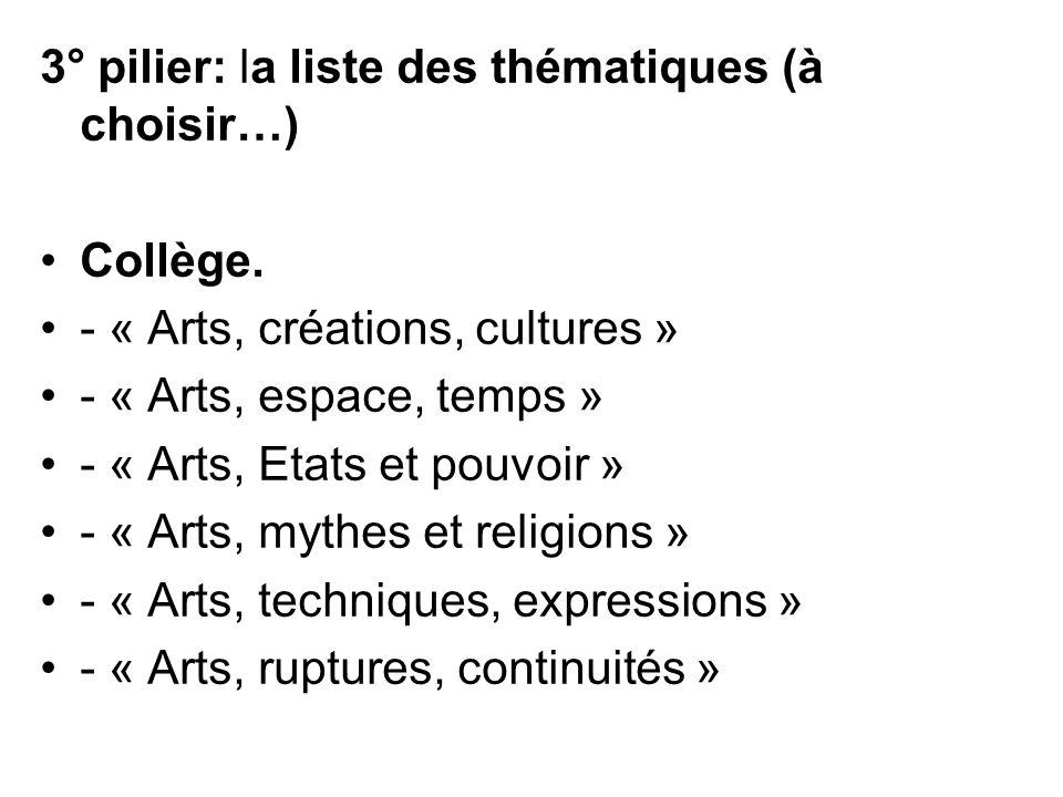 3° pilier: la liste des thématiques (à choisir…) Collège. - « Arts, créations, cultures » - « Arts, espace, temps » - « Arts, Etats et pouvoir » - « A