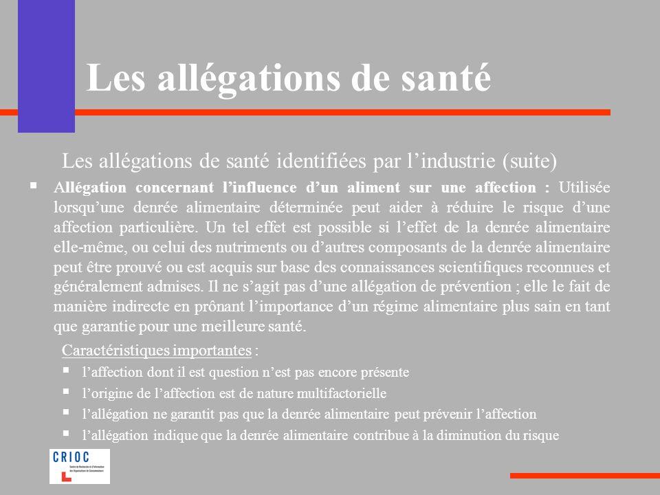 Les allégations de santé Les allégations de santé identifiées par lindustrie (suite) Allégation concernant linfluence dun aliment sur une affection :