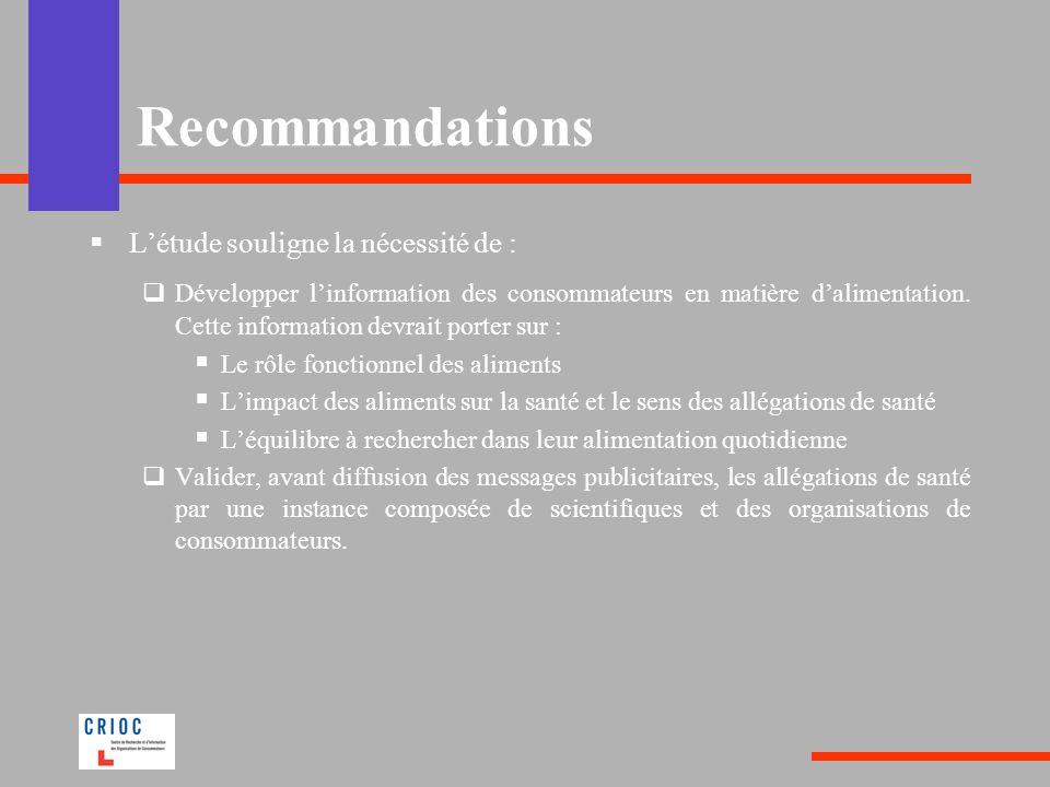 Létude souligne la nécessité de : Développer linformation des consommateurs en matière dalimentation. Cette information devrait porter sur : Le rôle f