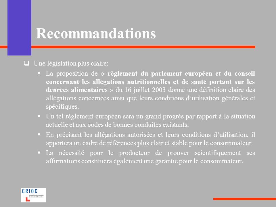 Une législation plus claire: La proposition de « règlement du parlement européen et du conseil concernant les allégations nutritionnelles et de santé