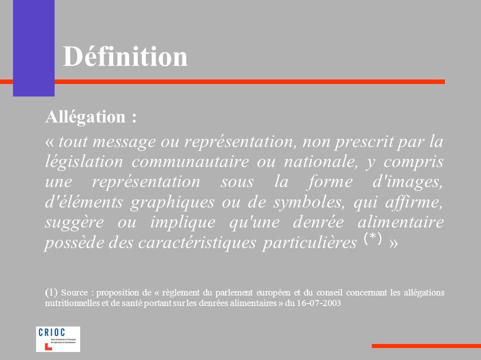 Définition Allégation : « tout message ou représentation, non prescrit par la législation communautaire ou nationale, y compris une représentation sou