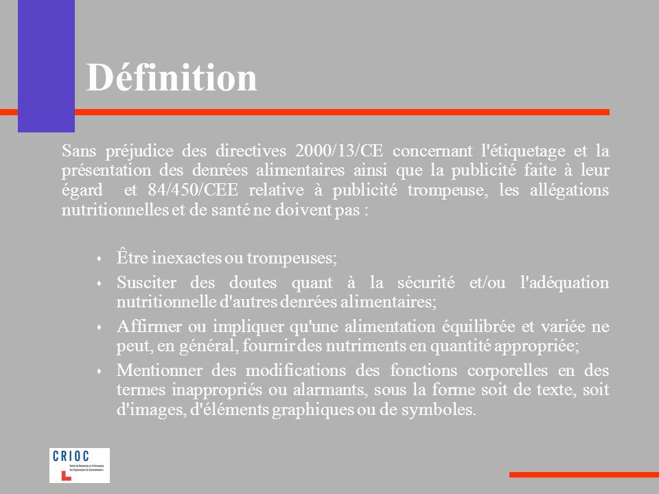 Définition Sans préjudice des directives 2000/13/CE concernant l'étiquetage et la présentation des denrées alimentaires ainsi que la publicité faite à