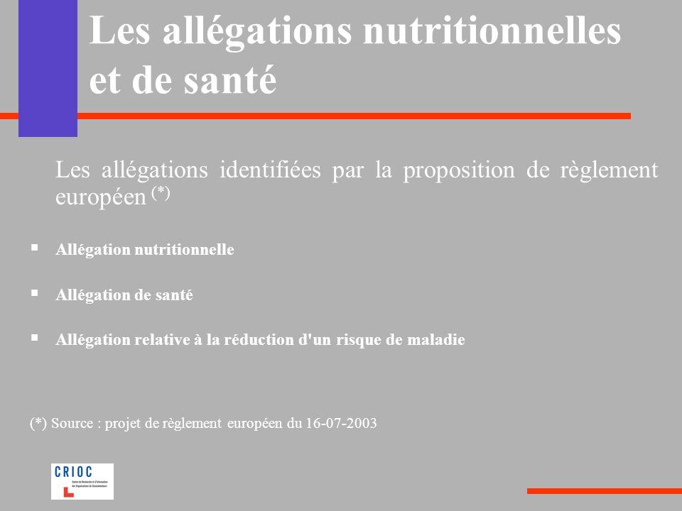 Les allégations nutritionnelles et de santé Les allégations identifiées par la proposition de règlement européen (*) Allégation nutritionnelle Allégat