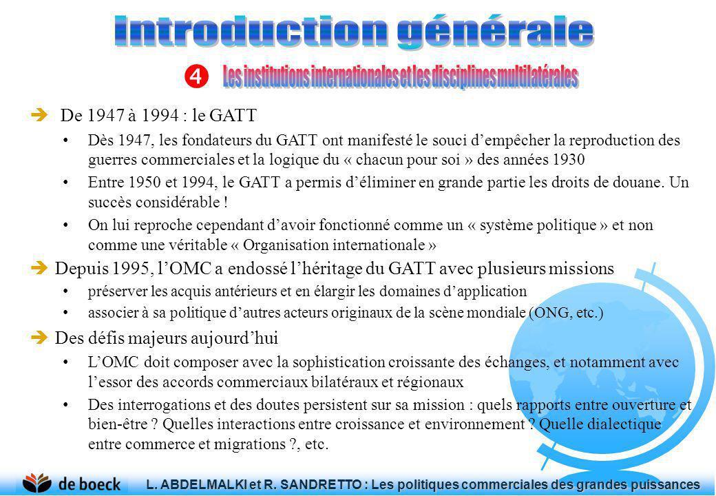 De 1947 à 1994 : le GATT Dès 1947, les fondateurs du GATT ont manifesté le souci dempêcher la reproduction des guerres commerciales et la logique du «