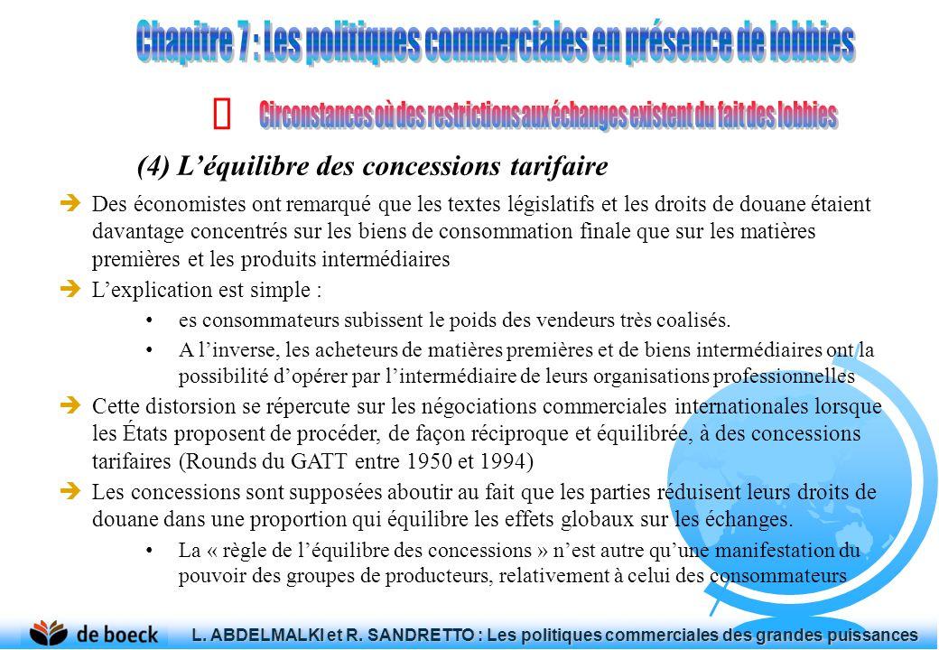 (4) Léquilibre des concessions tarifaire Des économistes ont remarqué que les textes législatifs et les droits de douane étaient davantage concentrés