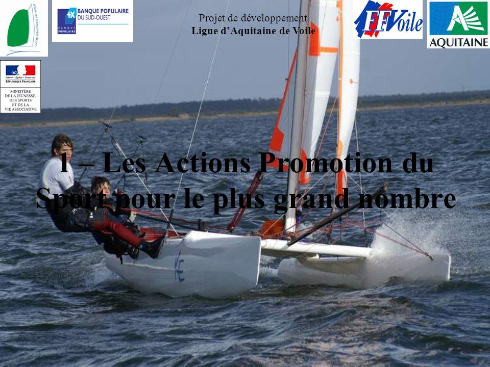 Projet de développement Ligue dAquitaine de Voile 1 – Les Actions Promotion du Sport pour le plus grand nombre