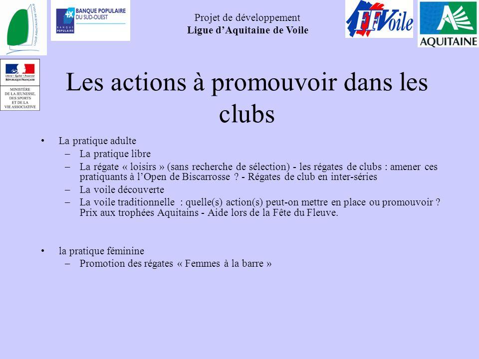 Projet de développement Ligue dAquitaine de Voile Les actions à promouvoir dans les clubs La pratique adulte –La pratique libre –La régate « loisirs »
