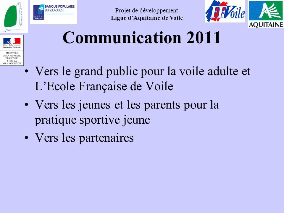 Projet de développement Ligue dAquitaine de Voile Communication 2011 Vers le grand public pour la voile adulte et LEcole Française de Voile Vers les j