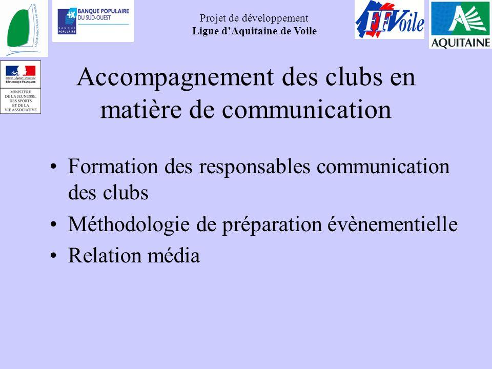 Projet de développement Ligue dAquitaine de Voile Accompagnement des clubs en matière de communication Formation des responsables communication des cl
