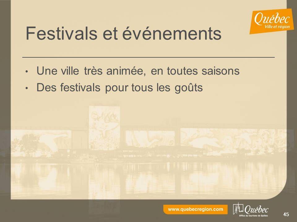 45 Festivals et événements Une ville très animée, en toutes saisons Des festivals pour tous les goûts