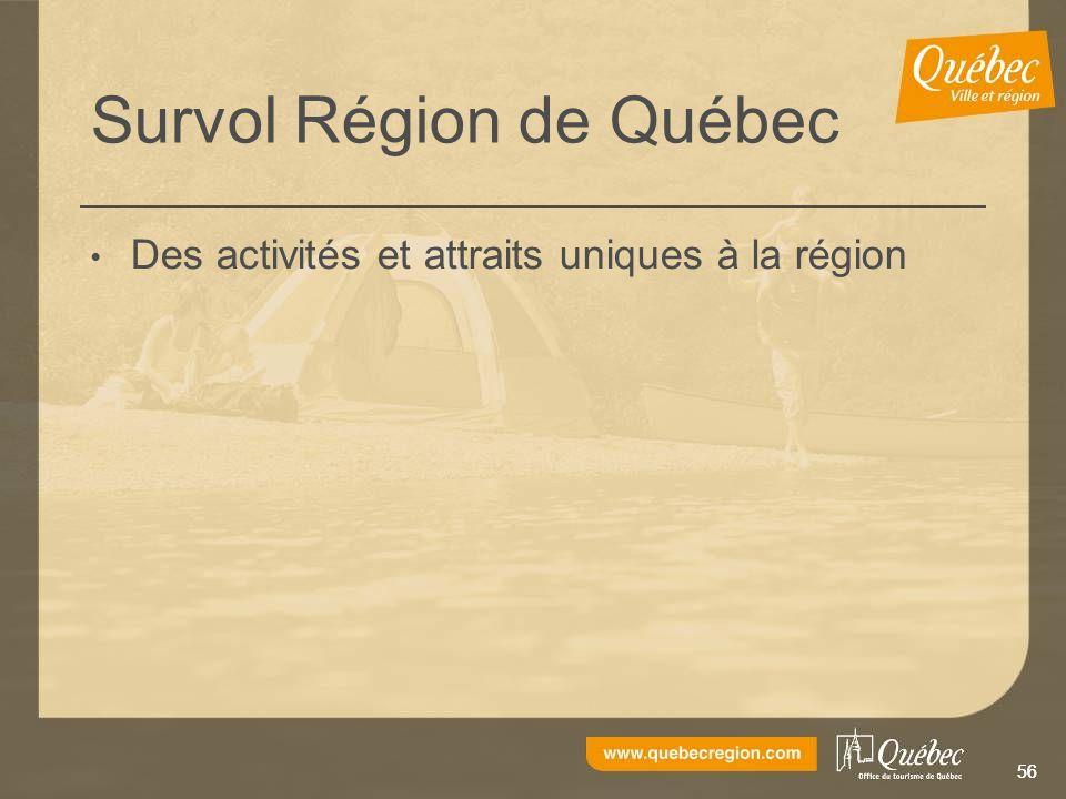 56 Survol Région de Québec Des activités et attraits uniques à la région
