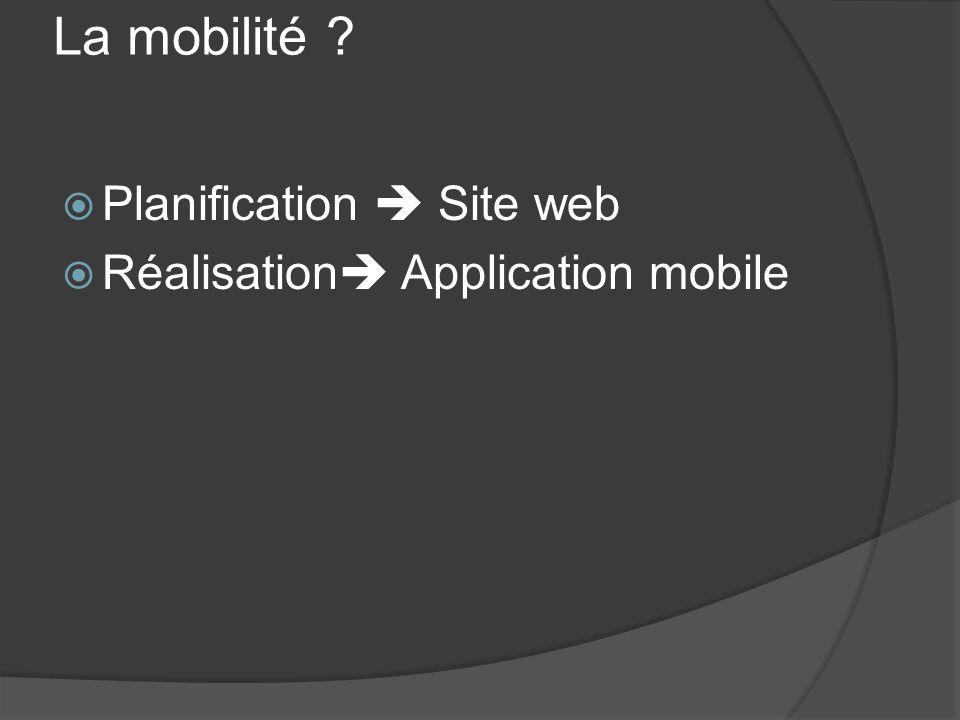 La mobilité ? Planification Site web Réalisation Application mobile