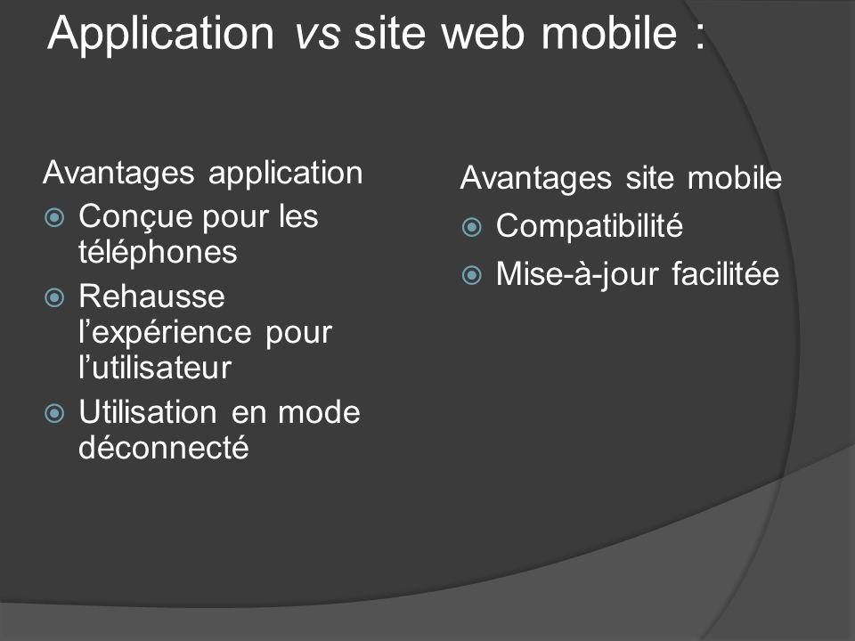 Application vs site web mobile : Avantages application Conçue pour les téléphones Rehausse lexpérience pour lutilisateur Utilisation en mode déconnect