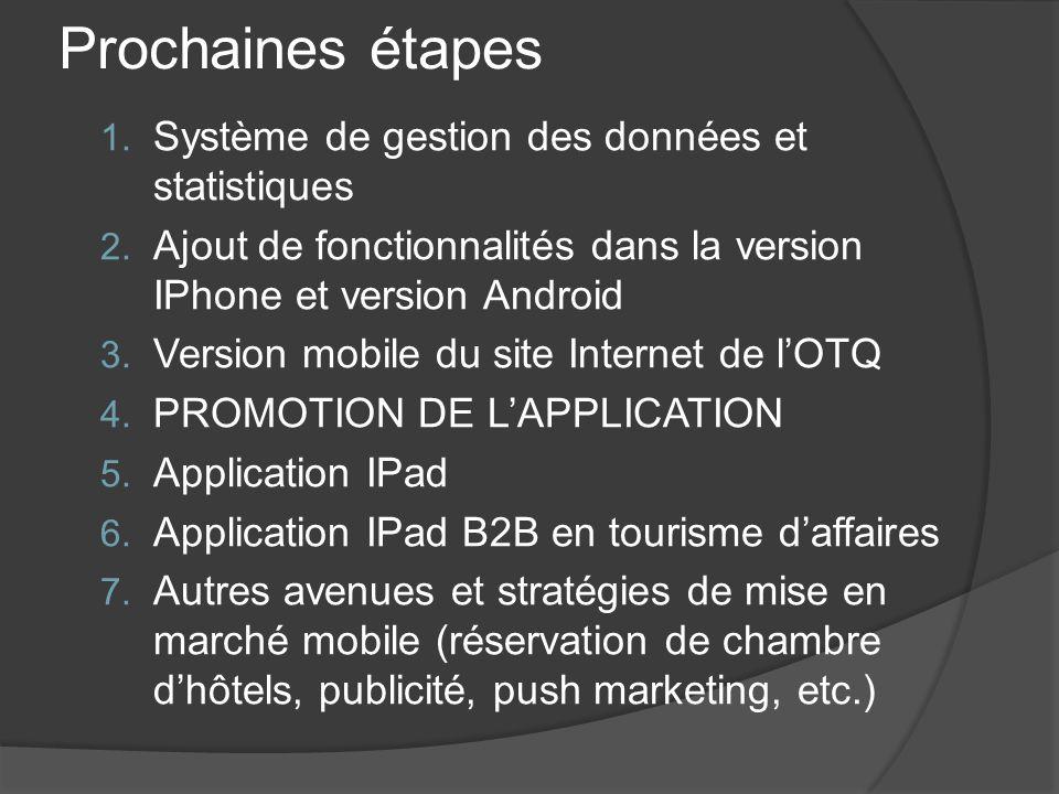 Prochaines étapes 1. Système de gestion des données et statistiques 2. Ajout de fonctionnalités dans la version IPhone et version Android 3. Version m