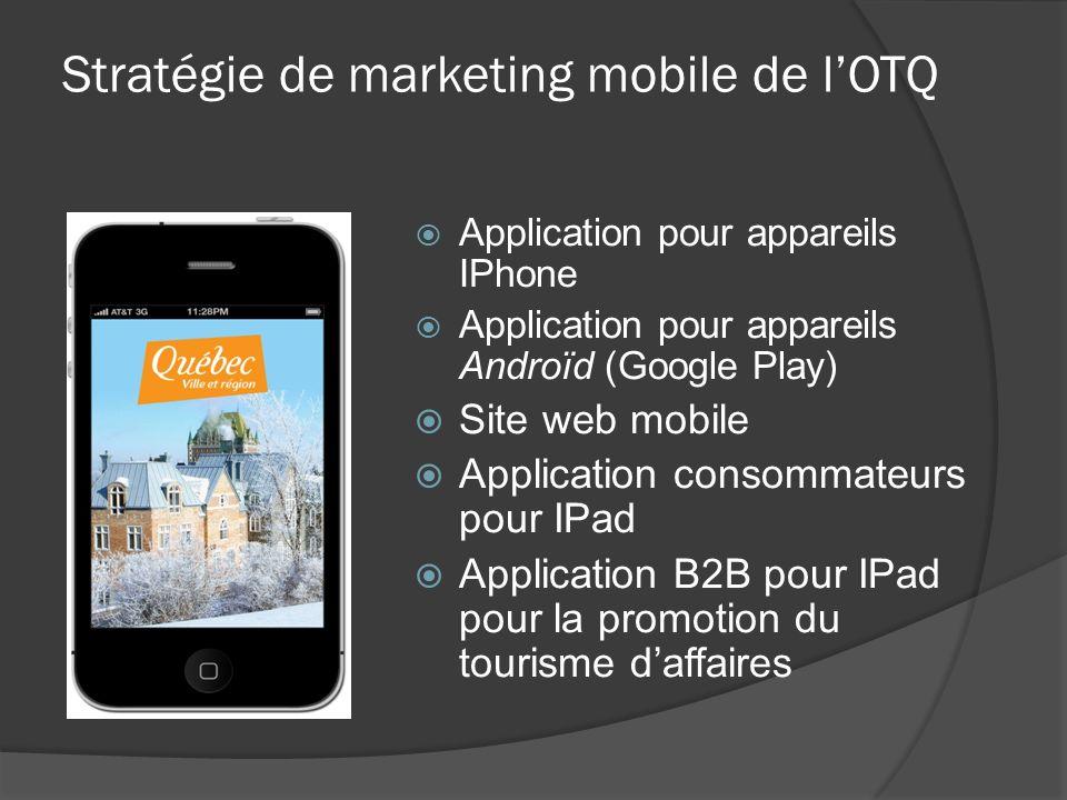 Application pour appareils IPhone Application pour appareils Androïd (Google Play) Site web mobile Application consommateurs pour IPad Application B2B