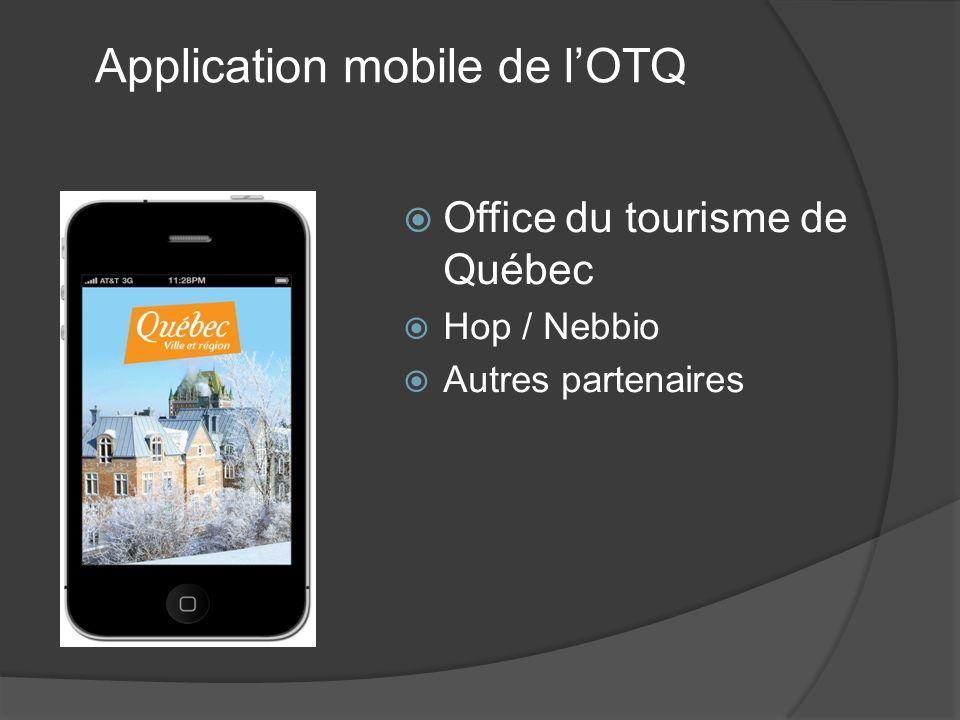 Office du tourisme de Québec Hop / Nebbio Autres partenaires Application mobile de lOTQ