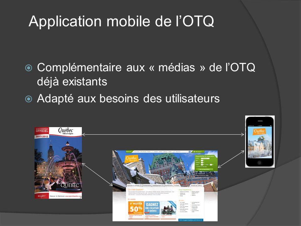 Complémentaire aux « médias » de lOTQ déjà existants Adapté aux besoins des utilisateurs Application mobile de lOTQ