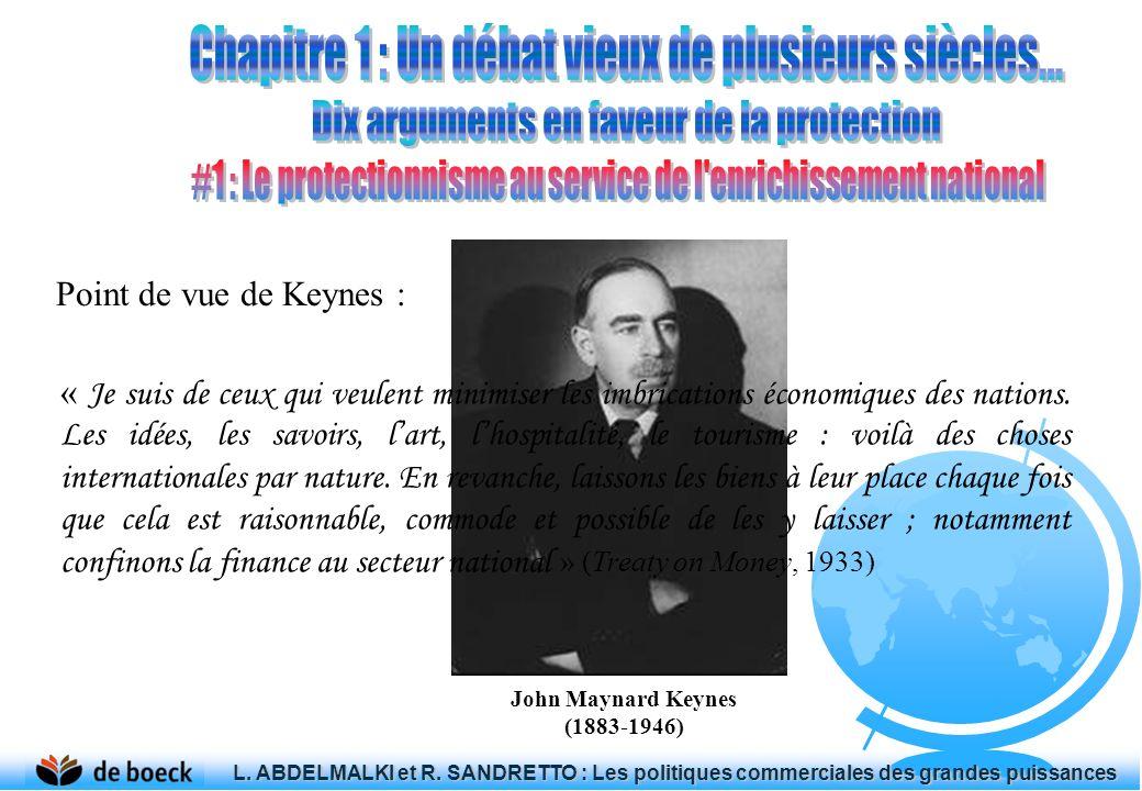 Point de vue de Keynes : John Maynard Keynes (1883-1946) « Je suis de ceux qui veulent minimiser les imbrications économiques des nations. Les idées,