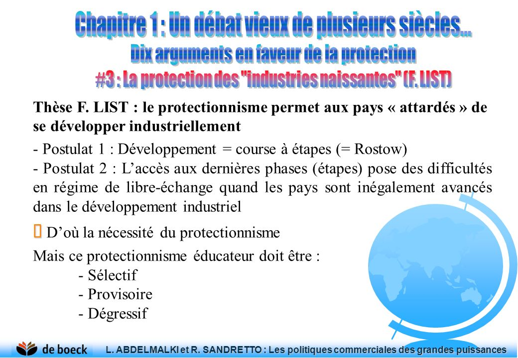 Thèse F. LIST : le protectionnisme permet aux pays « attardés » de se développer industriellement - Postulat 1 : Développement = course à étapes (= Ro