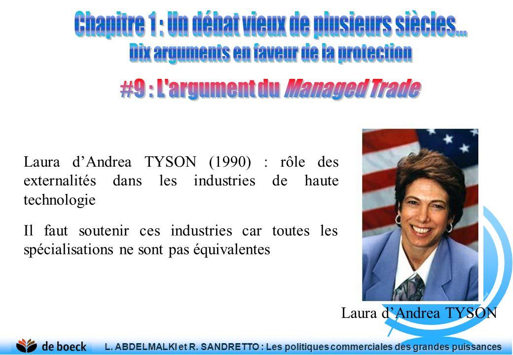 Laura dAndrea TYSON (1990) : rôle des externalités dans les industries de haute technologie L. ABDELMALKI et R. SANDRETTO : Les politiques commerciale