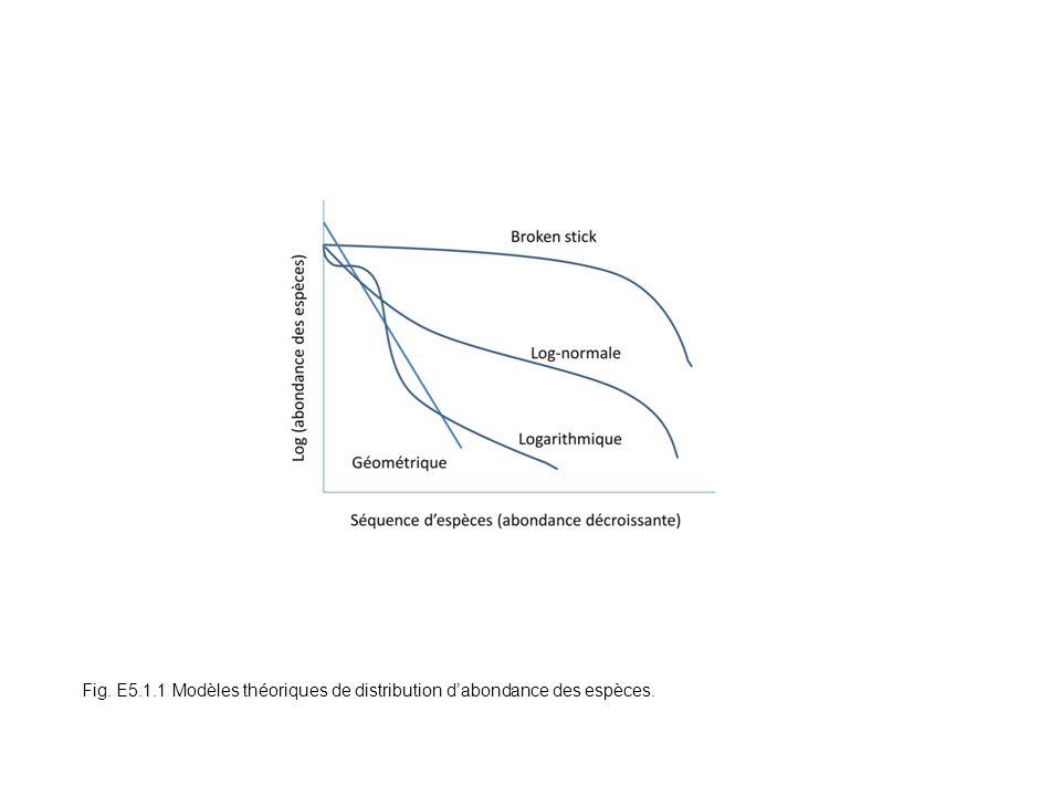 Fig. E5.1.1 Modèles théoriques de distribution dabondance des espèces.