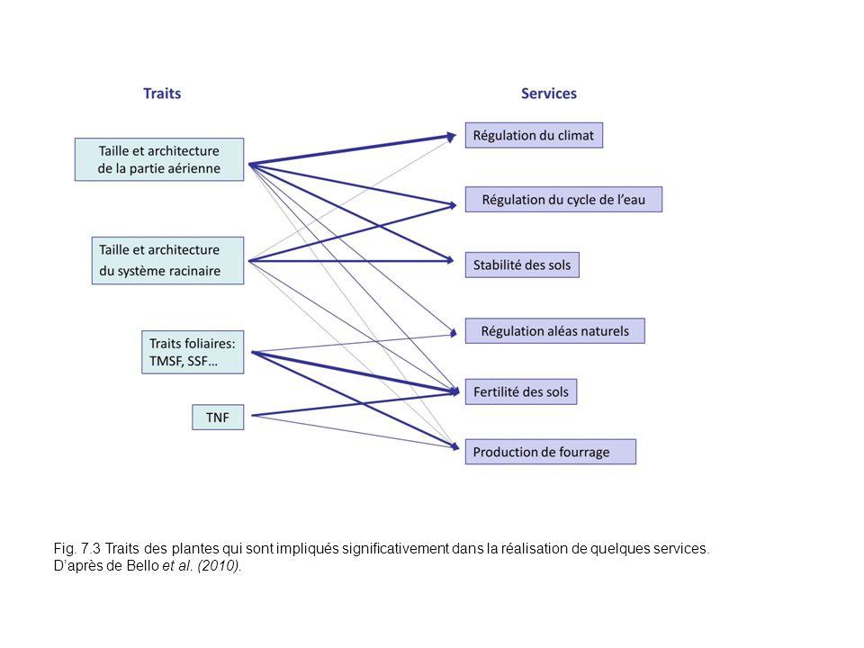 Fig. 7.3 Traits des plantes qui sont impliqués significativement dans la réalisation de quelques services. Daprès de Bello et al. (2010).