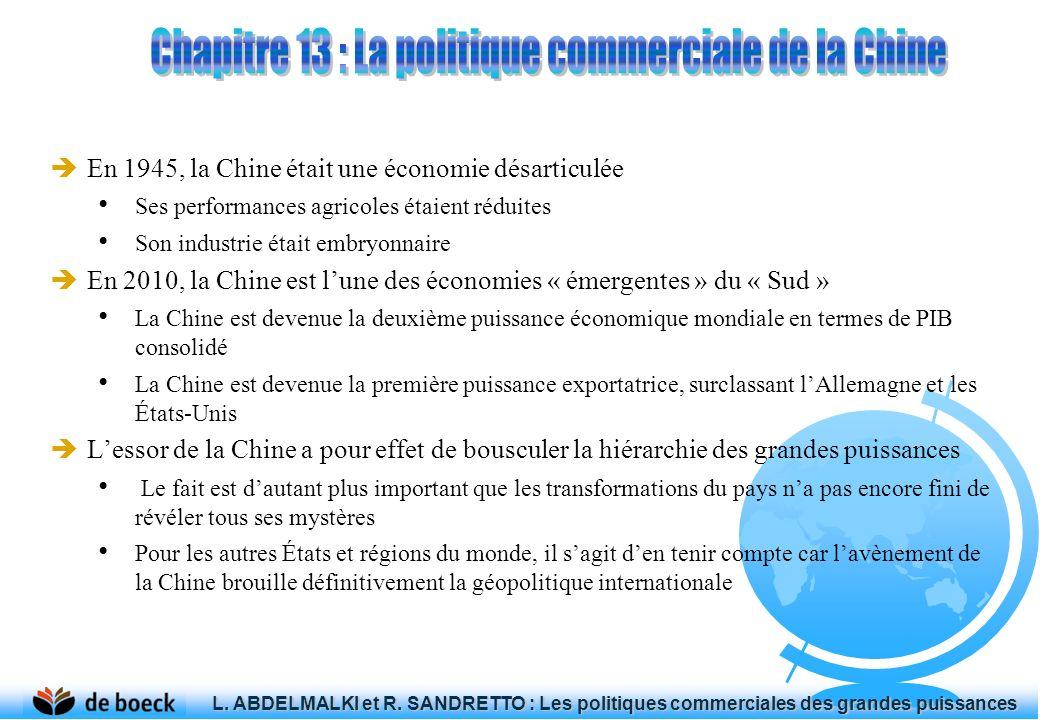 En 1945, la Chine était une économie désarticulée Ses performances agricoles étaient réduites Son industrie était embryonnaire En 2010, la Chine est lune des économies « émergentes » du « Sud » La Chine est devenue la deuxième puissance économique mondiale en termes de PIB consolidé La Chine est devenue la première puissance exportatrice, surclassant lAllemagne et les États-Unis Lessor de la Chine a pour effet de bousculer la hiérarchie des grandes puissances Le fait est dautant plus important que les transformations du pays na pas encore fini de révéler tous ses mystères Pour les autres États et régions du monde, il sagit den tenir compte car lavènement de la Chine brouille définitivement la géopolitique internationale L.