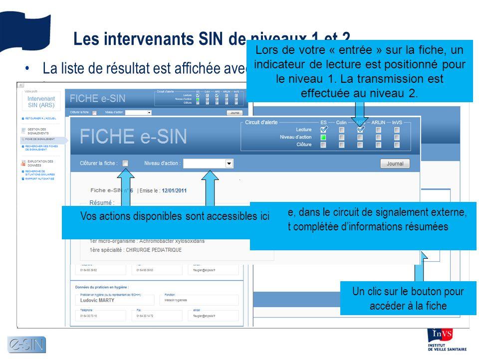 Les intervenants SIN de niveaux 1 et 2 La liste de résultat est affichée avec la ou les fiches en attente de lecture Un clic sur le bouton pour accéde