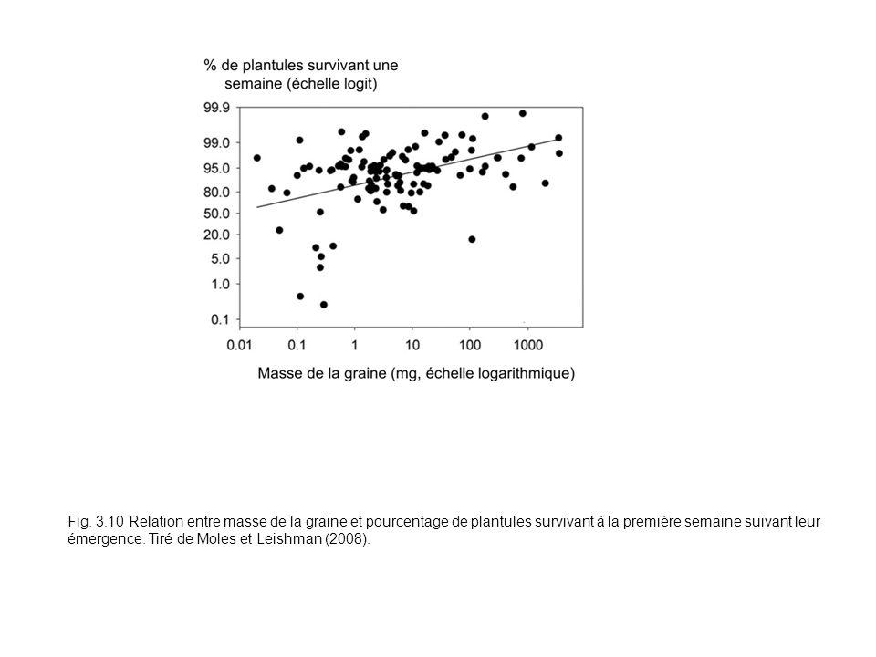 Fig. 3.10 Relation entre masse de la graine et pourcentage de plantules survivant à la première semaine suivant leur émergence. Tiré de Moles et Leish