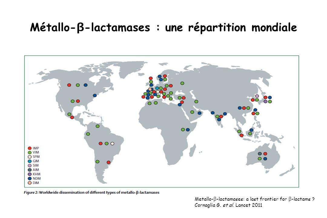Métallo- β -lactamases : une répartition mondiale Metallo- β -lactamases: a last frontier for β -lactams ? Cornaglia G. et al. Lancet 2011