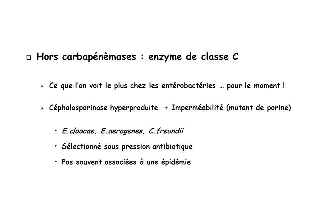 Hors carbapénèmases : enzyme de classe C Ce que lon voit le plus chez les entérobactéries … pour le moment ! Céphalosporinase hyperproduite + Imperméa