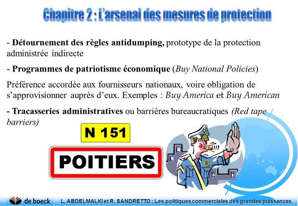 - Détournement des règles antidumping, prototype de la protection administrée indirecte - - Programmes de patriotisme économique (Buy National Policie
