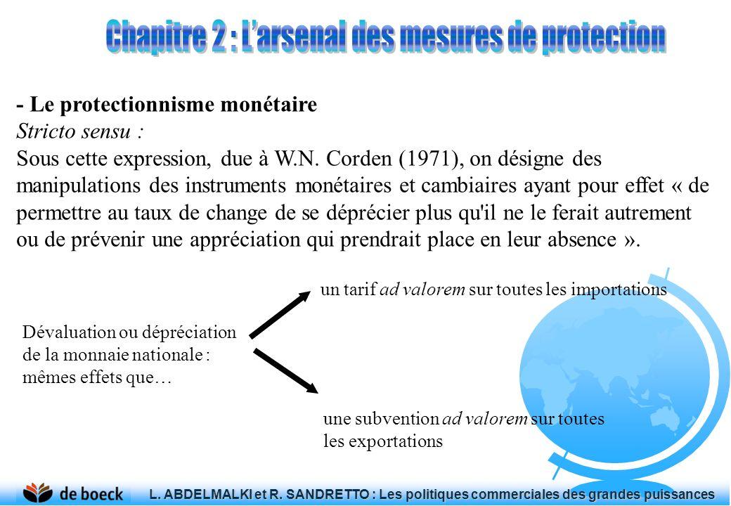 - Le protectionnisme monétaire Stricto sensu : Sous cette expression, due à W.N. Corden (1971), on désigne des manipulations des instruments monétaire