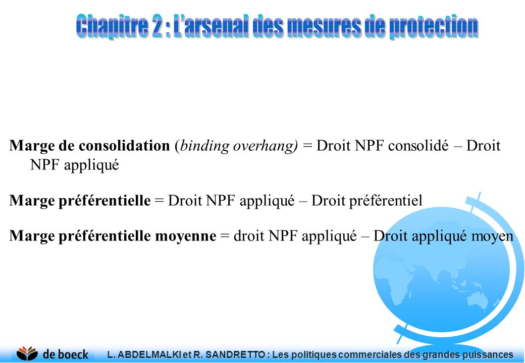 Marge de consolidation (binding overhang) = Droit NPF consolidé – Droit NPF appliqué Marge préférentielle = Droit NPF appliqué – Droit préférentiel Ma
