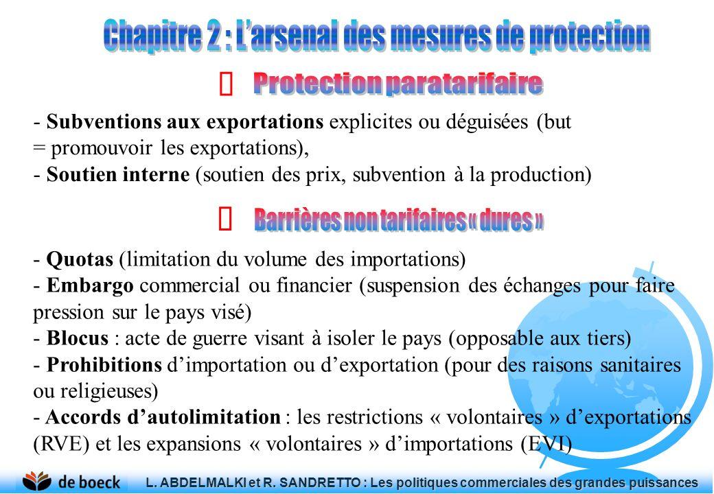 - Subventions aux exportations explicites ou déguisées (but = promouvoir les exportations), - Soutien interne (soutien des prix, subvention à la produ