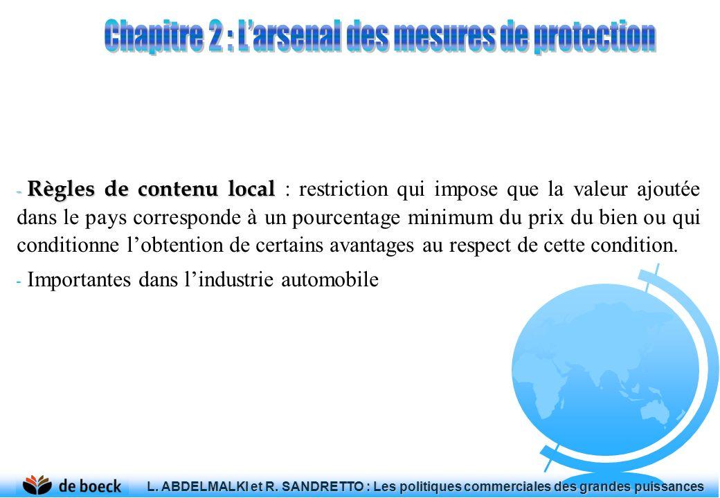 - Règles de contenu local - Règles de contenu local : restriction qui impose que la valeur ajoutée dans le pays corresponde à un pourcentage minimum d
