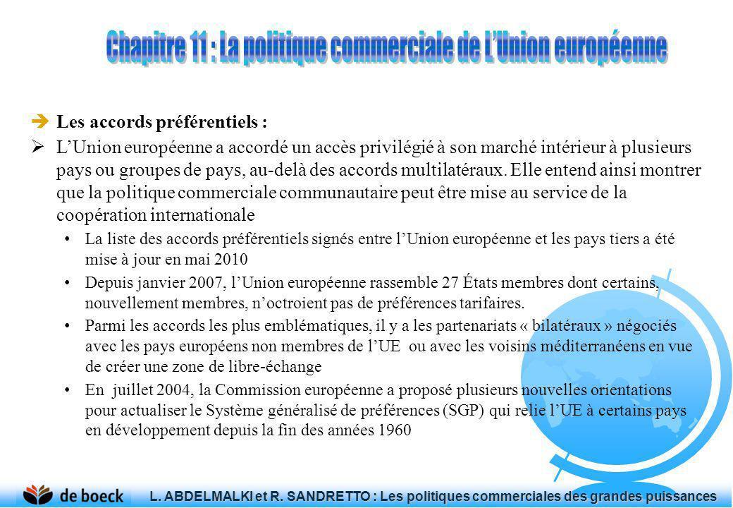 Les accords préférentiels : LUnion européenne a accordé un accès privilégié à son marché intérieur à plusieurs pays ou groupes de pays, au-delà des ac