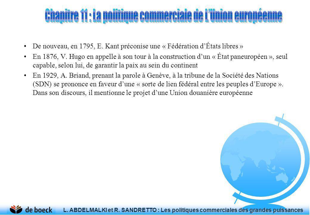 De nouveau, en 1795, E. Kant préconise une « Fédération dÉtats libres » En 1876, V. Hugo en appelle à son tour à la construction dun « État paneuropée