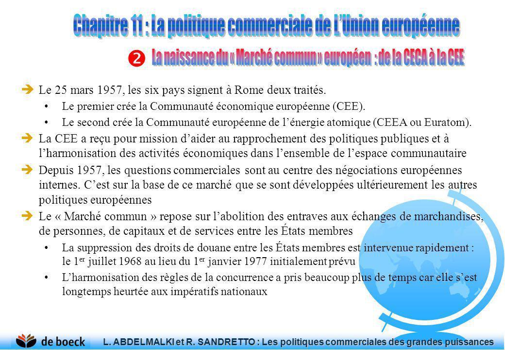 Le 25 mars 1957, les six pays signent à Rome deux traités. Le premier crée la Communauté économique européenne (CEE). Le second crée la Communauté eur