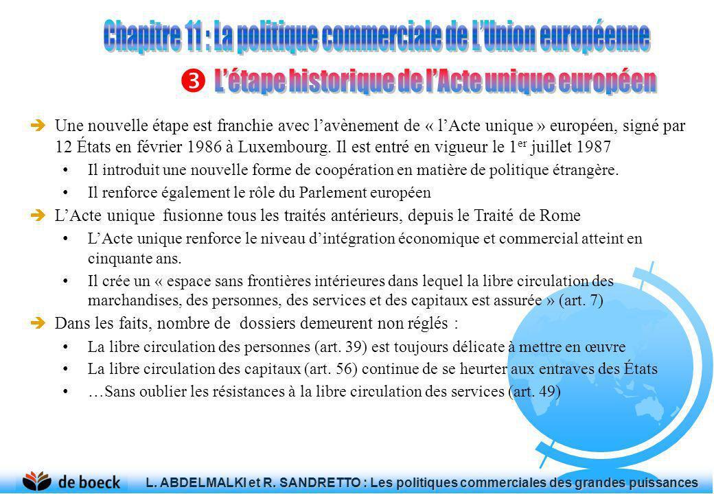 Une nouvelle étape est franchie avec lavènement de « lActe unique » européen, signé par 12 États en février 1986 à Luxembourg. Il est entré en vigueur
