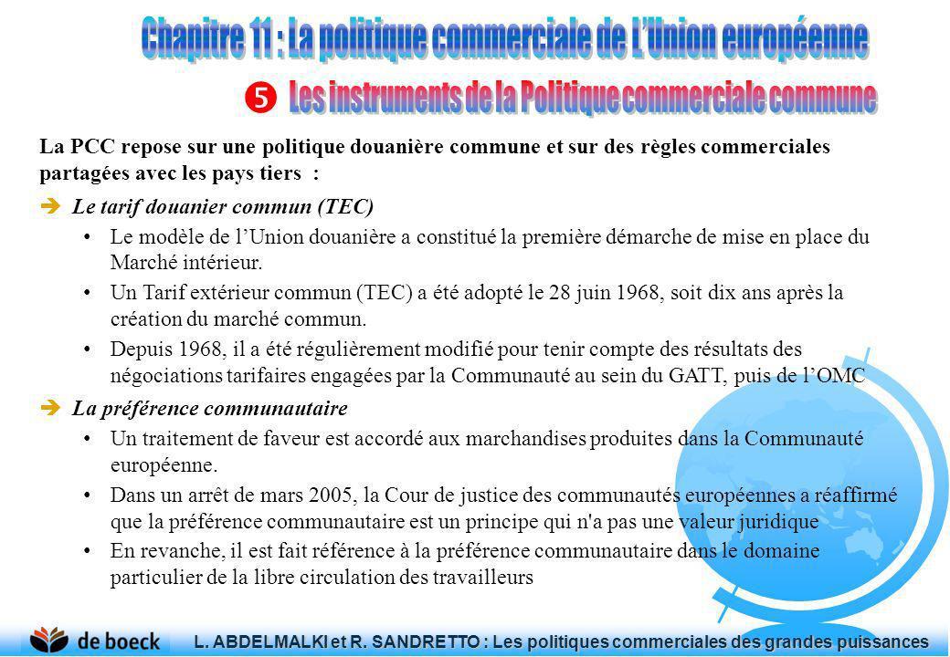 La PCC repose sur une politique douanière commune et sur des règles commerciales partagées avec les pays tiers : Le tarif douanier commun (TEC) Le mod
