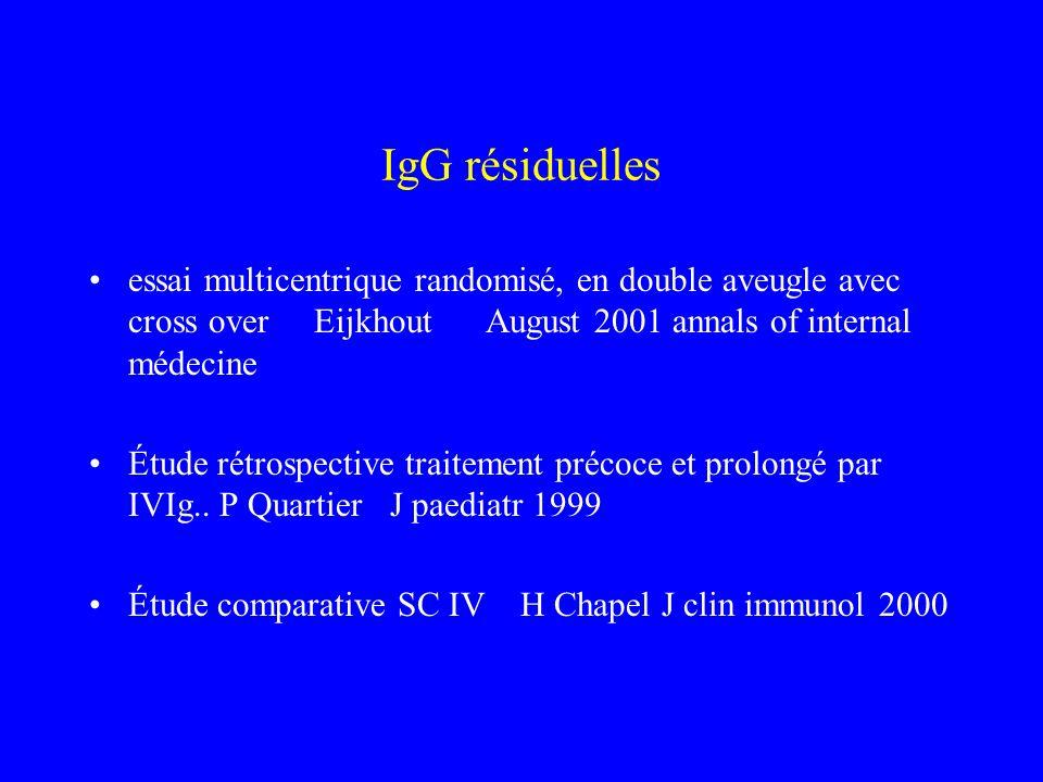 IgG résiduelles essai multicentrique randomisé, en double aveugle avec cross over Eijkhout August 2001 annals of internal médecine Étude rétrospective