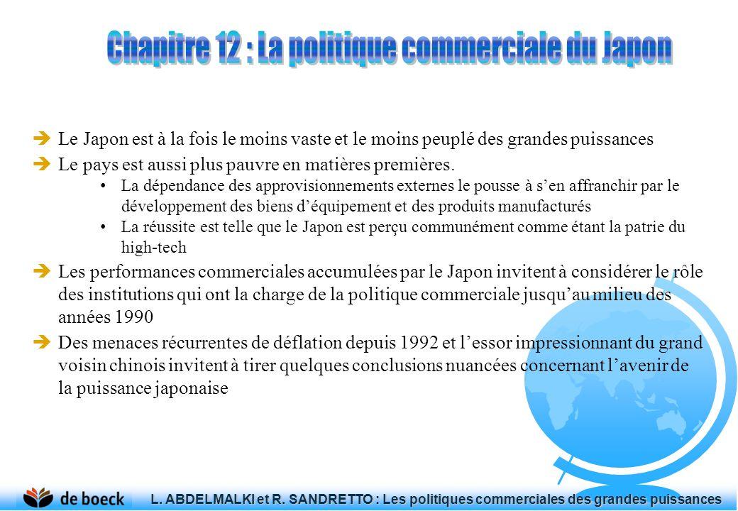 À la suite du Traité de paix de San Francisco ainsi quau Pacte de sécurité nippo- américain, le Japon accède à son indépendance en 1951 Près de quinze ans après, le Japon se hisse au rang de deuxième puissance industrielle du monde, avant den devenir la deuxième puissance commerciale dans les années 1970 et la première puissance financière dans les années 1980 Ce retour, le Japon le doit au départ à sa position dans la géopolitique internationale : le déclenchement de la Guerre froide avec lURSS (1947) et lentrée en scène de la Chine communiste (1949) poussent les États-Unis à considérer le Japon comme un allié régional Au niveau intérieur, le gouvernement accorde une importance stratégique aux questions économiques (restauration le MITI dès 1949) Au niveau extérieur, le Japon consacre ses efforts à « la diplomatie économique » (keizai gaikou) L.