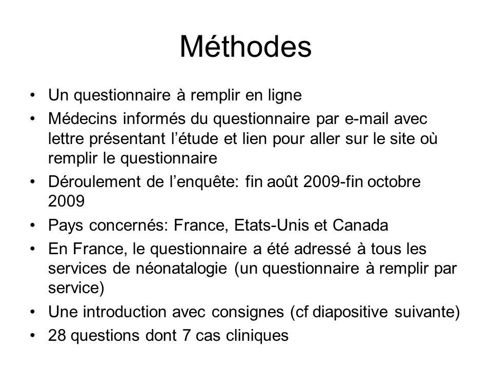 Méthodes Un questionnaire à remplir en ligne Médecins informés du questionnaire par e-mail avec lettre présentant létude et lien pour aller sur le sit