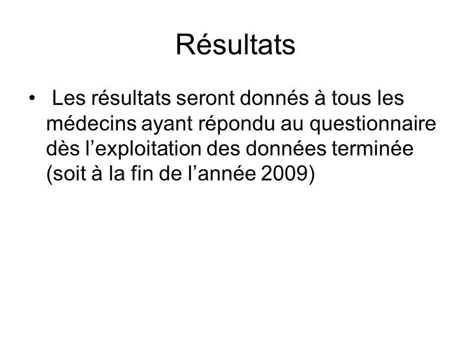Résultats Les résultats seront donnés à tous les médecins ayant répondu au questionnaire dès lexploitation des données terminée (soit à la fin de lannée 2009)