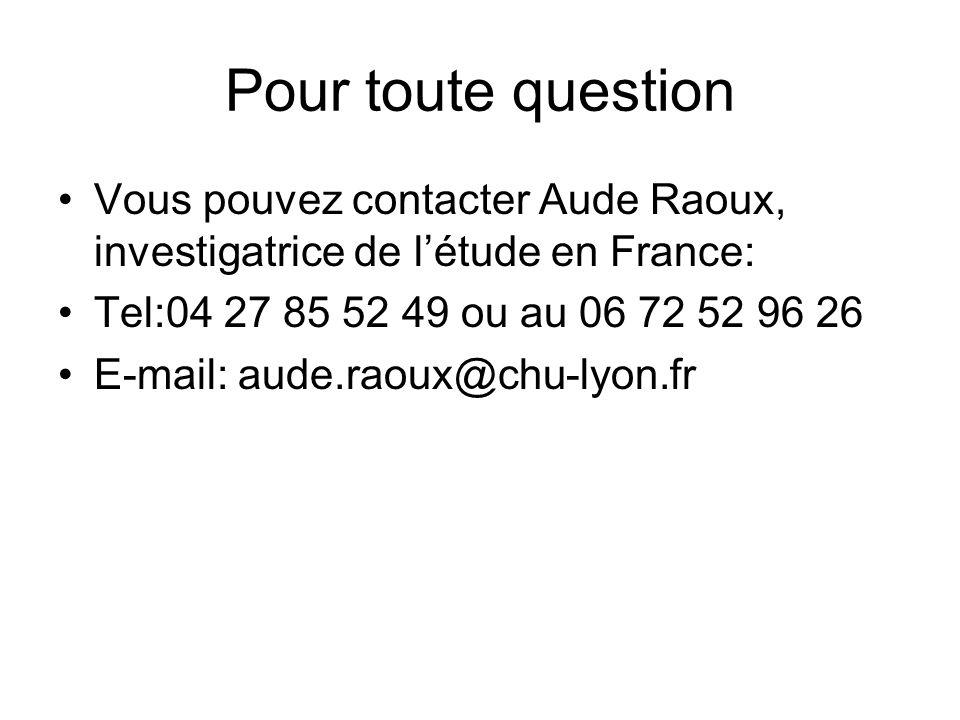 Pour toute question Vous pouvez contacter Aude Raoux, investigatrice de létude en France: Tel:04 27 85 52 49 ou au 06 72 52 96 26 E-mail: aude.raoux@chu-lyon.fr