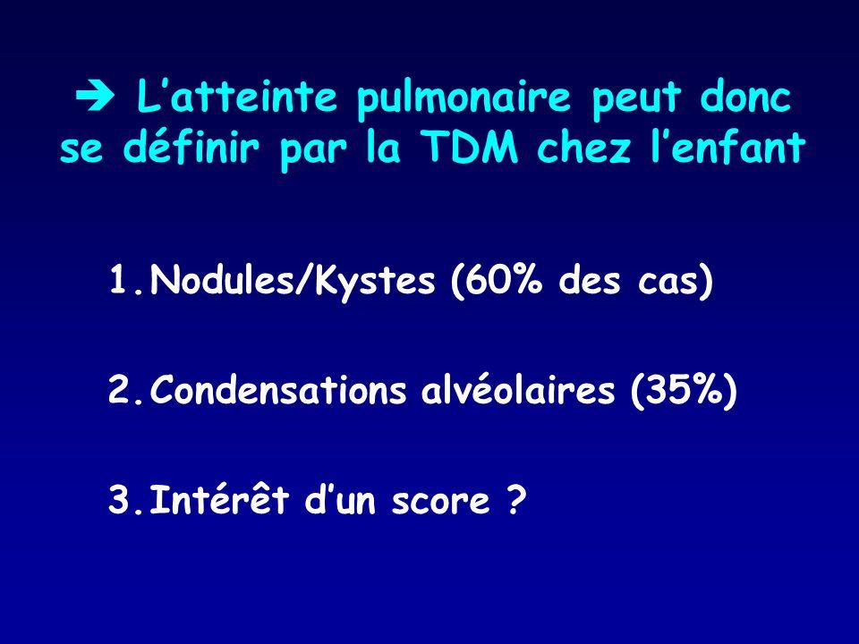1.Nodules/Kystes (60% des cas) 2.Condensations alvéolaires (35%) 3.Intérêt dun score ? Latteinte pulmonaire peut donc se définir par la TDM chez lenfa