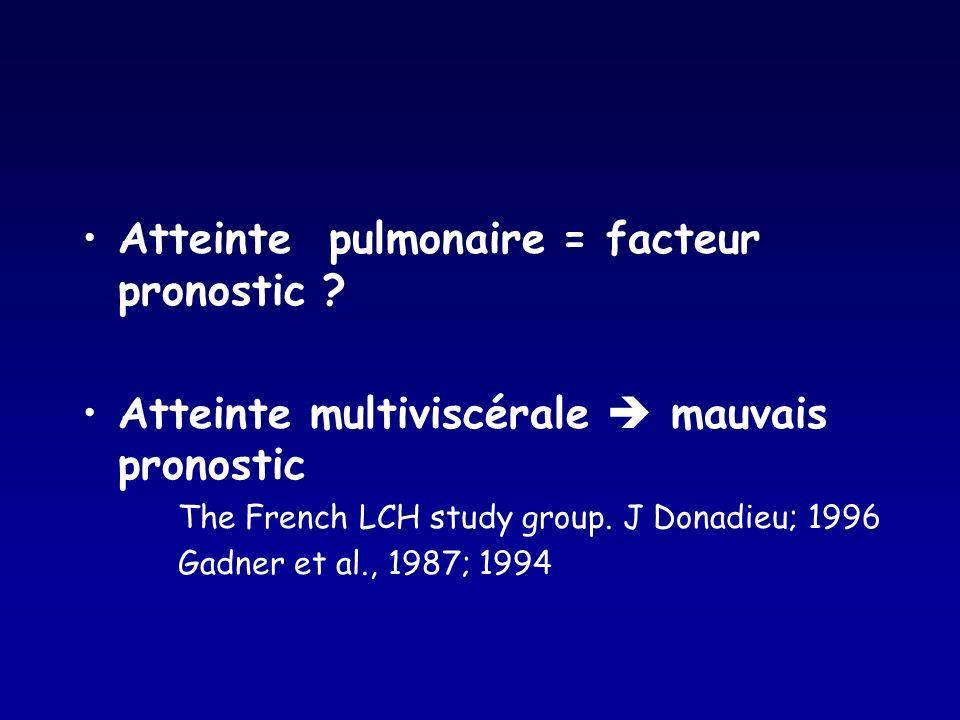 Atteinte pulmonaire = facteur pronostic ? Atteinte multiviscérale mauvais pronostic The French LCH study group. J Donadieu; 1996 Gadner et al., 1987;
